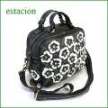 estacionバッグ エスタシオン鞄 etb770Sbl ブラック 【ワクワクしちゃう!可愛い。色。色。色々。。エスタシオン鞄 タップリ入る・お花のバッグ】