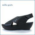 milla sports   ミラスポーツ  mi6361bl  ブラック 【シンプルがオシャレ・・マジックでフィット・milla sports・厚底サンダル】