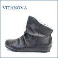 vita nova ビタノバ vt1578bl ブラック 【可愛い、まん丸ラウンドトゥ。。いい革してる、高級素材・・ビタノバ モコモコ・アンクル】