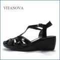 vita nova  ビタノバ   vt9625bl  ブラック 【柔らかソールで快適・・すっきりエナメル素材。。vitanova サンダル】