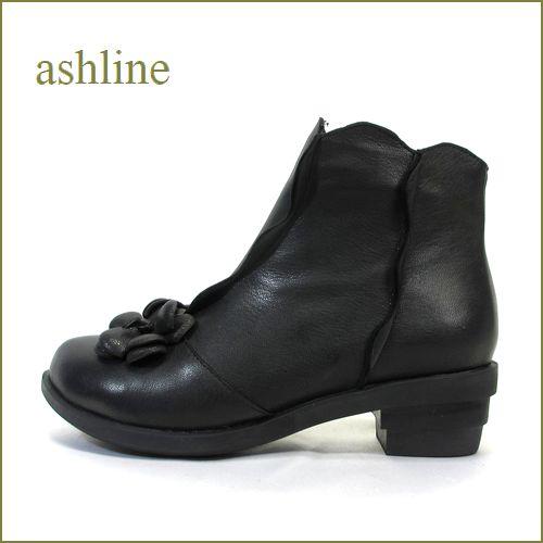 ashline アシュライン as11bl ブラック 【可愛いお花とフラワーカット・・・ashline・・ アイロントゥのショートブーツ】