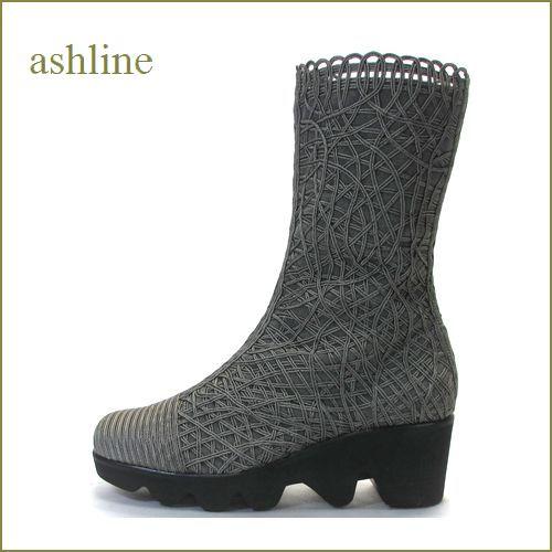ashline  アシュライン  as12250gy  グレイ 【おしゃれ度アップする・・手仕事の高級コードレース素材。。 ashline ショートブーツ】 【 復刻・限定生産品 】