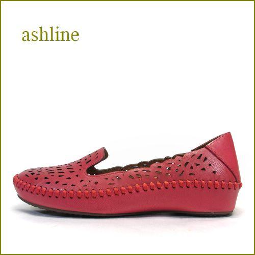 ashline アシュライン as18082re  レッド 【馴染むレザーと巾広設計・・・履きやすさ満点!ashline・・ピタッとするスリッポン】
