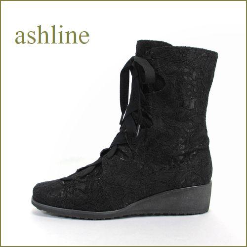 ashline アシュライン as4003bl ブラック 【オールシーズン履ける・・・お花模様のかわいい レース・・ashline リボンショートブーツ】