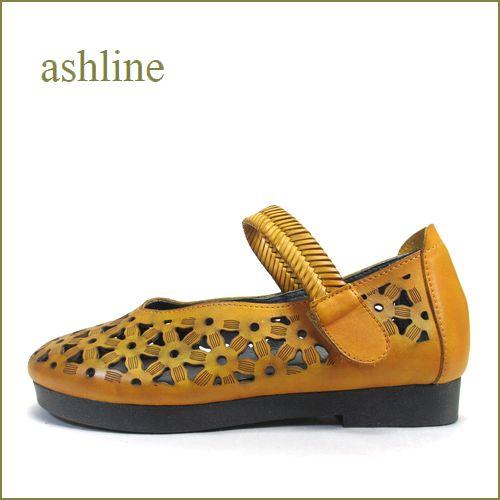 ashline アシュライン as536020ye イエロ―キャメル 【よく曲がる柔らかソール!おしゃれな深めVカット。ashline・ワンベルト】