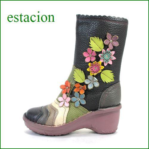 estacion  エスタシオン靴  et016bl ブラックマルチ 【初登場の長さ!!お花咲いてる 新鮮色達。。。エスタシオン・・かわいいハーフブーツ】