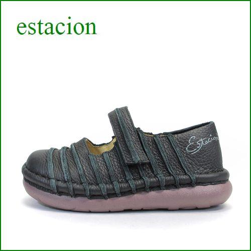 estacion  エスタシオン靴   et038bl ブラック 【ボリューム満点。。まん丸 可愛い!エスタシオン靴・・しましま ワンベルト】