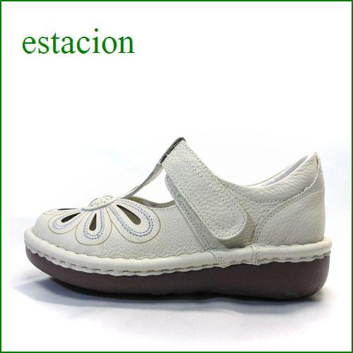 estacion  エスタシオン靴  et06iv  アイボリー 【おすすめしちゃう新型ソール・・・お花畑を散歩。。エスタシオン靴・・・・可愛い!花花・ Tストラップ】