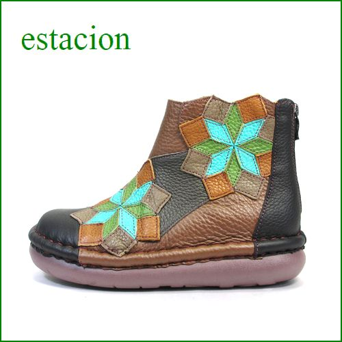 estacion エスタシオン靴  et233bl ブラックコンビ 【フワッとする。。オザブなクッション。エスタシオン靴・・ひし形お花の可愛いブーツ】