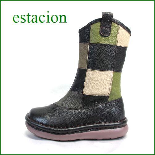 estacion  エスタシオン靴  et254bl ブラックマルチ 【初登場の長さ!!市松模様と新鮮色達! エスタシオン・・かわいいハーフブーツ】