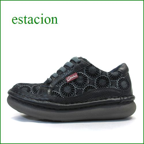 estacion  エスタシオン  et259bl ブラック 【フワッと感じるお座布なクッション。。新鮮・和柄のお花。。エスタシオン靴・・ごむごむマニッシュ】