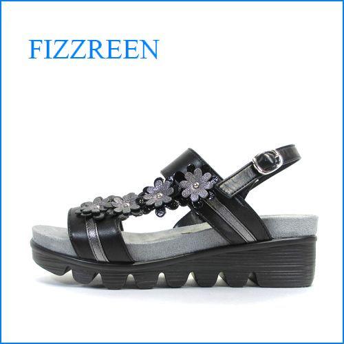 fizzreen フィズリーン fr1803bl ブラック 【2段の柔らかソール・小花がいっぱい・fizzreen なみなみインソールの履きやすいサンダル】