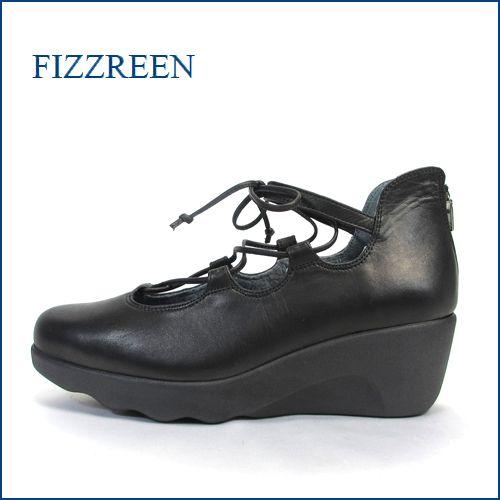fizzreen  フィズリーン  fr1834bl  ブラック 【そう!ダブルでフワフワ・・気持いいやすらぎインソール・・・fizzreen・・ひもひもリボン・ウェッジ】