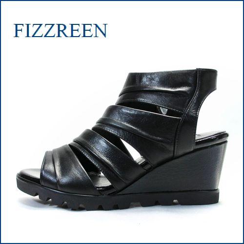fizzreen フィズリーン fr2702ble ブラック 【上品スッキリのきれいなデザイン・・fizzreen・・ソフトなFIT・ウェッジサンダル】