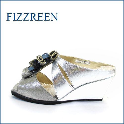 fizz reen フィズリーン fr457sl シルバー 【足をつつんで、ふわっとクッション・・FIZZREEN・・・・可愛いフリフリお花・ミュール】