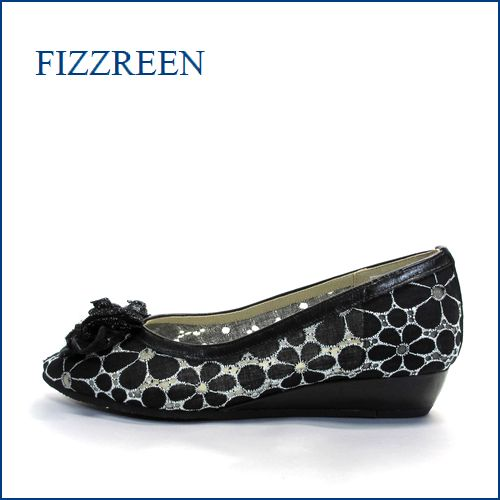 fizz reen フィズリーン fr7001bl ブラック 【かわいい上品リボン・・新鮮なレース素材・・FIZZREEN・・2重クッション・パンプス】