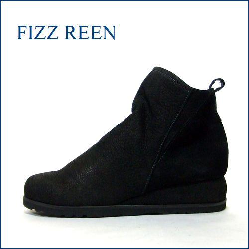 FIZZ REEN  フィズリーン fr9803bl  ブラック 【スポッと履ける巾広4Eのシンプルな可愛いショートブーツ】
