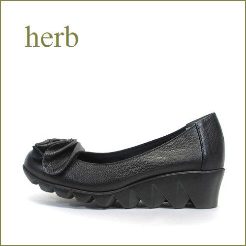 herb靴  ハーブ  hb086bl  ブラック  【ぐるぐるリボンの履きやすい・・herb靴・・ 軽量キャタピラソール・パンプス】