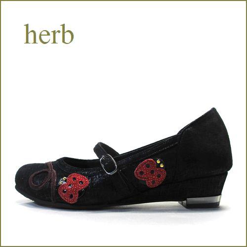 herb靴 ハーブ hb1530bl ブラック 【可愛いぴかぴかテントウ虫。。軽さとクッションでアピールしましょ。herb靴 ベルトパンプス】