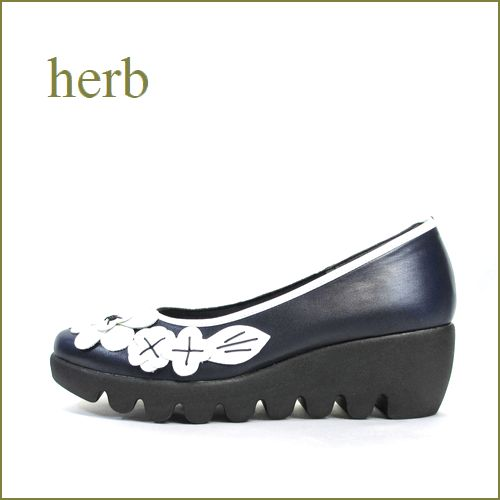 herb靴  ハーブ  hb3585nv  ネイビー  【かわいいお花カメリア・・なみなみ底の履きやすい・・herb靴 快適パンプス】