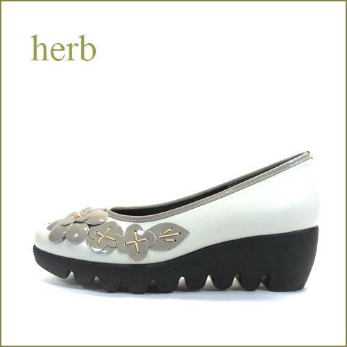 herb靴  ハーブ  hb3585wt  オフホワイト/OKE  【かわいいお花カメリア・・なみなみ底の履きやすい・・herb靴 快適・パンプス】