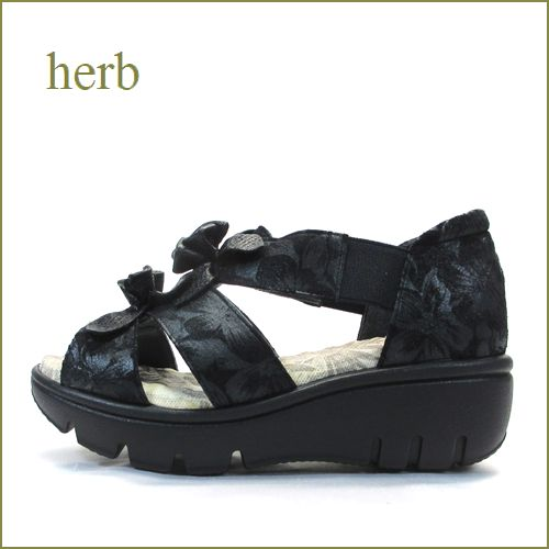 herb   ハーブ  hb906bl  ブラック 【可愛いリボンとお花・・・ボリュームたっぷり厚底ソール。。herb靴・オープントゥのサンダル】