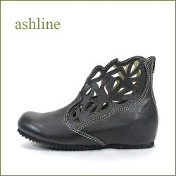 ashline  アシュライン  as104bl ブラック 【可愛いフラワー模様・・・ゆったり巾広4E・・ashline・・ドンドン歩けるアンクル】