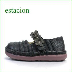 estacion  エスタシオン靴  et0381bl ブラック 【お花畑を散歩。。エスタシオン靴・・・・カラフル・・可愛い!花花・ ワンベルト】