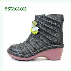 estacion エスタシオン靴  et0501bl ブラック 【新・ソールが登場!!エスタシオン靴 すごく可愛い しましま&リボンブーツ】