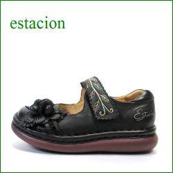 estacion  エスタシオン靴  et12bl ブラック 【可愛い、、ぽっこリ お花の・・エスタシオン・・・まん丸トゥの・・ワン ベルト】