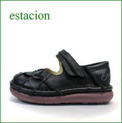 estacion  エスタシオン靴  et202bl ブラック 【ワクワク元気。。エスタシオン靴・・・・カラフル・・可愛い!花花・万華鏡・ ワンベルト】