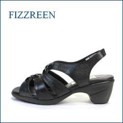 fizz reen フィズリーン fr158bl ブラック 【可愛い上品・キララのお花・・・・FIZZREEN・楽らく、、きちっとサンダル】