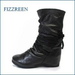 fizzreen フィズリーン fr3010bla ブラック 【すぽっと履けて楽らくフィット・・もっちり 柔らかソフトレザー・・ fizzreen 後ろリボン ブーツ】