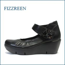 fizz reen  フィズリーン fr3731bl ブラック 【今すぐ馴染むソフトなレザー!すっぽり包み込む・・ fizzreen  厚底ベルトパンプス】