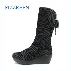 fizz reen フィズリーン fr3794bl  ブラック 【ぷっくりかわいい New 厚底ソール・・FIZZREEN・後ろリボンブーツ】
