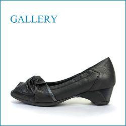 gallery  ギャラリー  ga8720bl  ブラック 【指が出すぎず ぴったり FIT・ちょびっとオープントゥの・gallery・ 可愛いリボンパンプス】