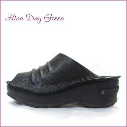 hina day green ヒナデイグリン hi6015bl ブラック 【可愛いボリューム・・安心のふわふわクッション・・ hina  ミュールサンダル】