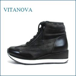 vitanova  ビタノバ  vt6878bl ブラック 【ワンクラス上のフィット感。おしゃれブラックデニム・・vitanova・ハイカットススニーカー】