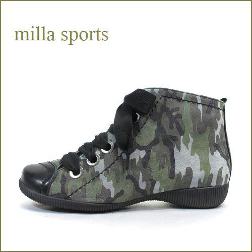 milla sports ミラスポーツ mi3303ka 黒カモフラ 【新鮮・ラウンドソールで・・楽らく 歩き放題・・millasports・可愛いひもひもアンクル】