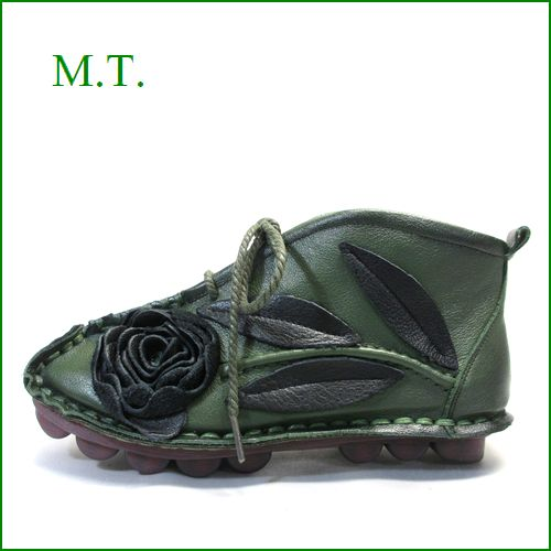 MT  エムティー  mt9220gr カーキ―グリン 【可愛いお花が咲いている・・・足に吸いつく履き心地。。MT 柔らかソールのアンクルブーツ】