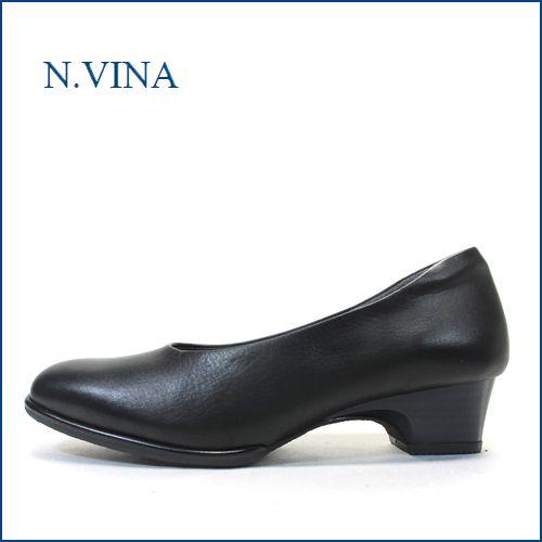 エヌビナ NVINA by Tiara nv2412bl  ブラック  【馴染む一枚革仕立て・・足に優しいしっとりレザー。。nvina  プレンパンプス】