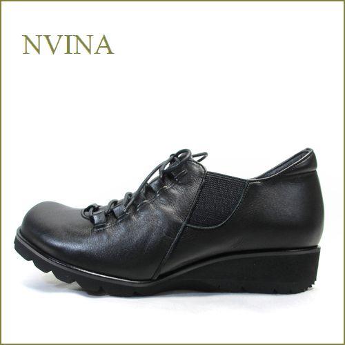 nvina エヌビナ nv7873bl  ブラック  【紐だけどスポッと履ける・・可愛いオブリックトゥ。。nvina  ・レース&サイドゴア・スリッポン】