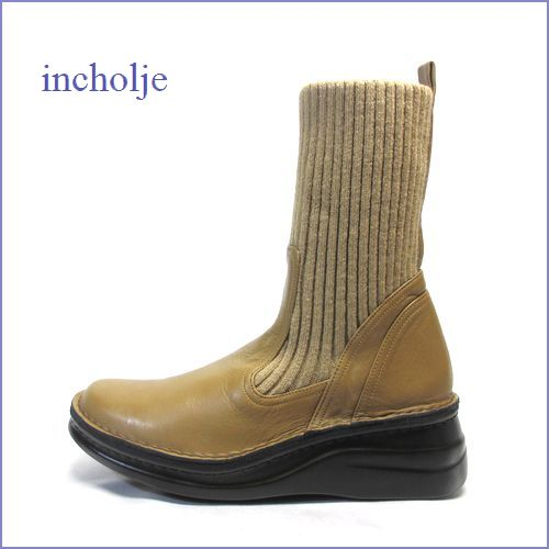 incholje インコルジェ in8172ka カーキーベージュ 【足裏に優しい 快適クッション・incholje靴 かわいい丸さの・・すっきりニットブーツ】