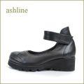 ashline アシュライン as211bl ブラック 【可愛いまん丸トゥ・・フィットする履き心地・・ashline・・なみなみソールのアンクルベルト 】