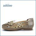 ashline アシュライン as30112gy グレージュ 【可愛いお花とパンチング・・よく曲がる柔らかソール。ashline・ぺたんこカッタ—パンプス】