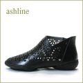 ashline アシュライン as3161bl ブラック 【ソックスでアレンジ。。新鮮・お花模様のパンチング。。ashline・・ピタッとするブ—ティー】