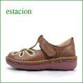estacion  エスタシオン靴  et06br  ブラウン 【おすすめしちゃう新型ソール・・・お花畑を散歩。。エスタシオン靴・・・・可愛い!花花・ Tストラップ】