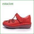 estacion  エスタシオン靴  et06re  レッド 【おすすめしちゃう新型ソール・・・お花畑を散歩。。エスタシオン靴・・・・可愛い!花花・ Tストラップ】