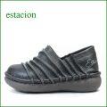 エスタシオン靴 estacion et105bl ブラック 【フワフワのクッシン・・斜めのしましまデザイン~エスタシオン靴・ スリッポン】