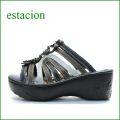 estacion  エスタシオン  et122bl ブラック 【厚いソールで歩きましょ。。ふわふわクッションの・・ エスタシオン お花のミュール】